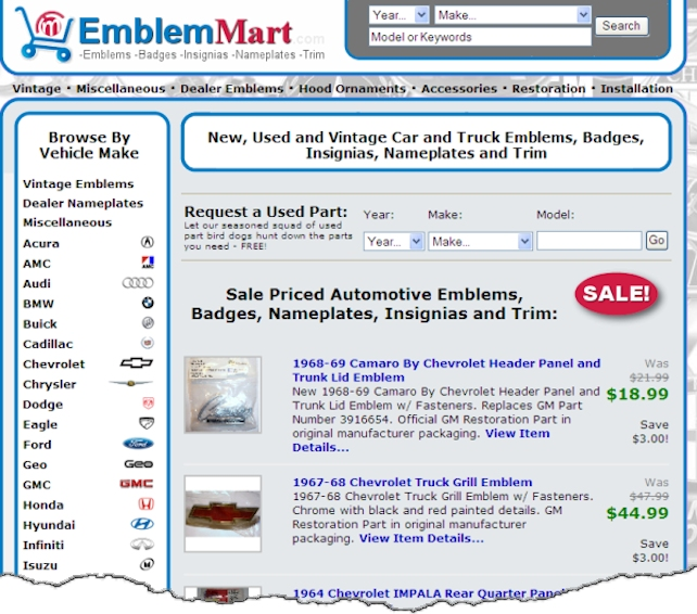 Emblem Mart Web Site Design Example