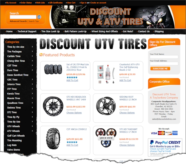 Discount UTV Tires Web Design Example