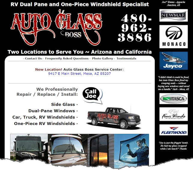 Auto Glass Boss Web Design Example