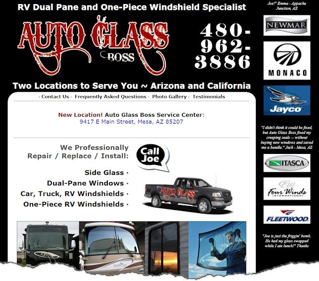 Auto Glass Boss Web Design Example