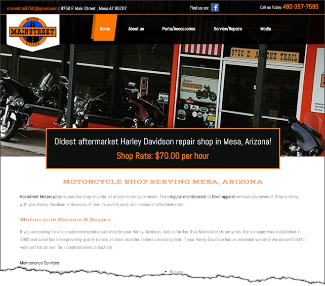 Main Street Motorcycles Website Design Example